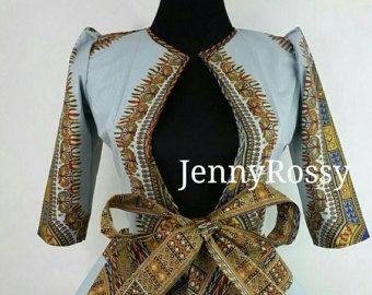 ON SALES Jennyrossy African jacket Ankara tie Top by JENNYROSSY