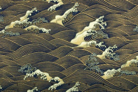 Blue - Gold waves yuzen paper
