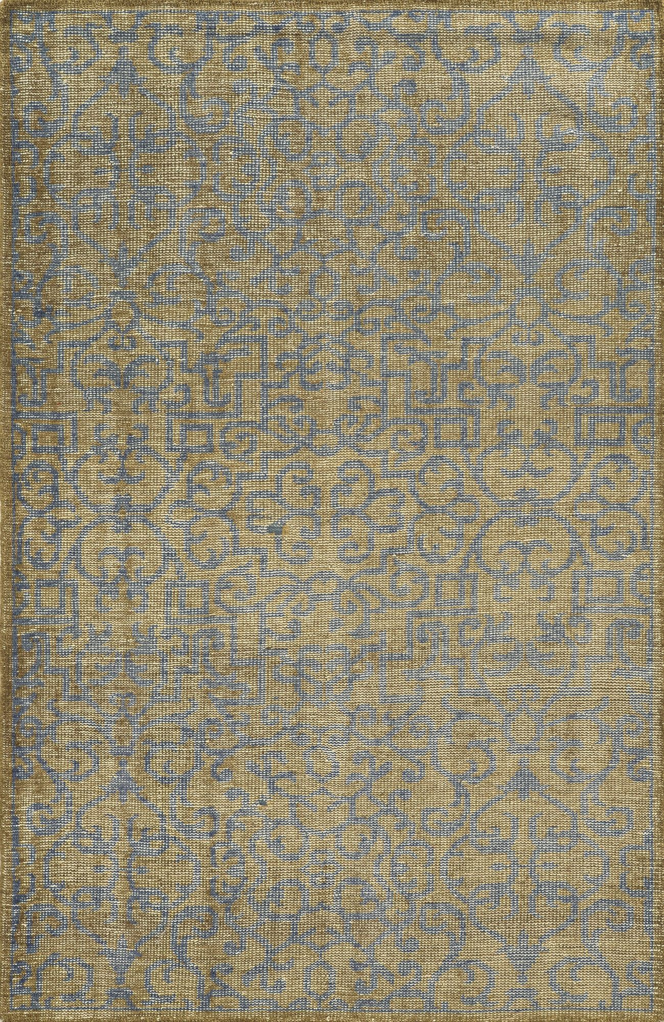 Runcorn Hand-Knotted Beige/Light Blue Area Rug