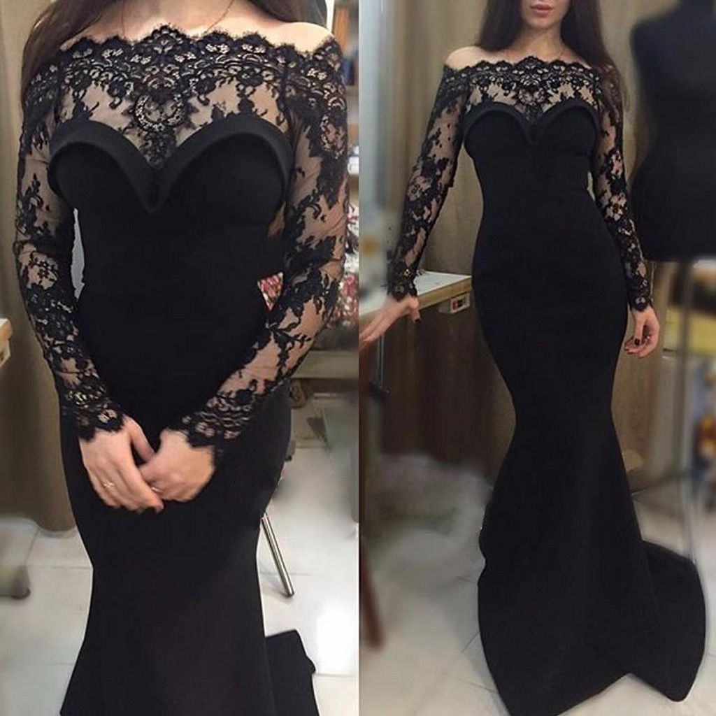 7408ed53c6 Gorgeous Black Lace Off Shoulder Long Sleeve Sexy Mermaid See Through Prom  Dresses