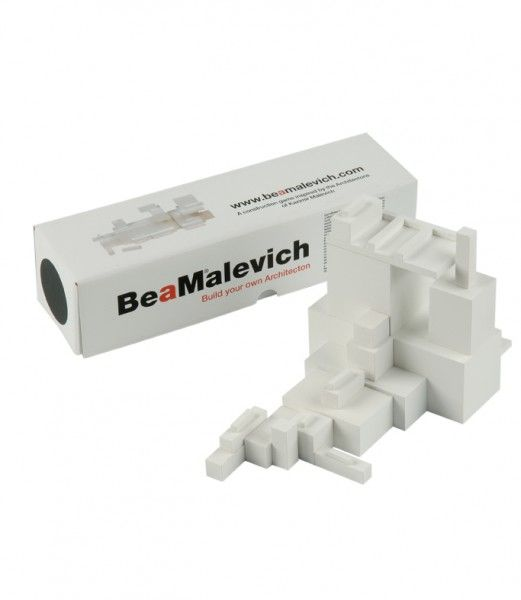 Be a Malevich.   Construction game -   Inspired by the architecture of Kasimir Malevich, the greatest exponent of Suprematism, 1915.  Handmade, wood. 25,5 x 7 x 7 cm.  60.00 € http://tienda.museothyssen.org/en/homeware/be-a-malevich-construction-game-805.html