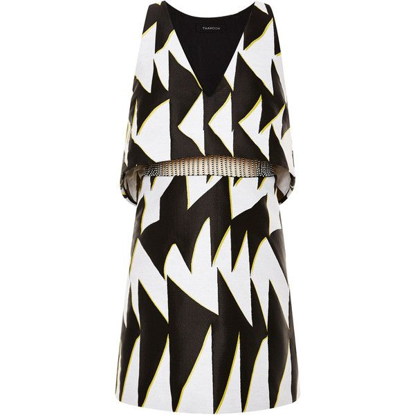 Thakoon Graphic Chevron Jacquard Beaded Waist Dress (€1.845) ❤ liked on Polyvore featuring dresses, low v neck dress, waist dress, graphic dresses, kohl dresses and chevron striped dress
