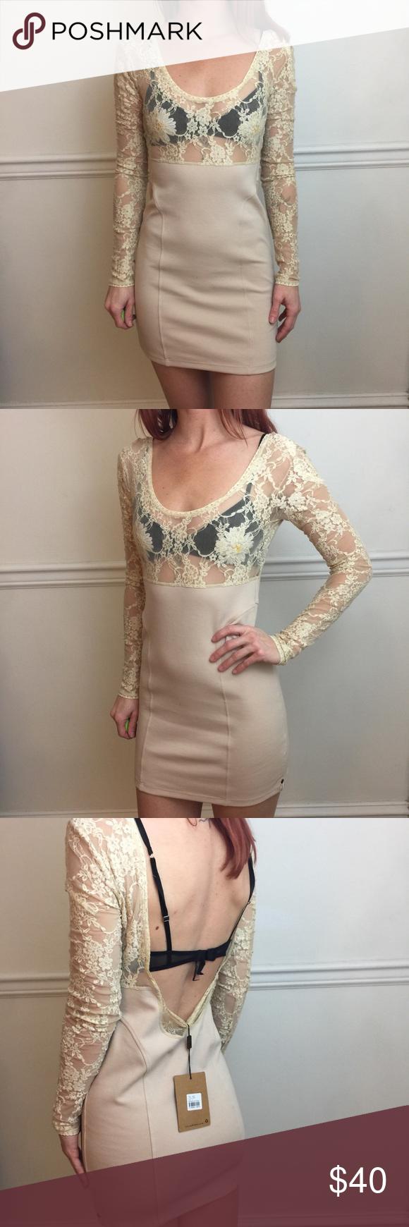 One Teaspoon Tan Lace Yoke Long Sleeve Dress Nwt Long Sleeve Dress Dresses Clothes Design [ 1740 x 580 Pixel ]