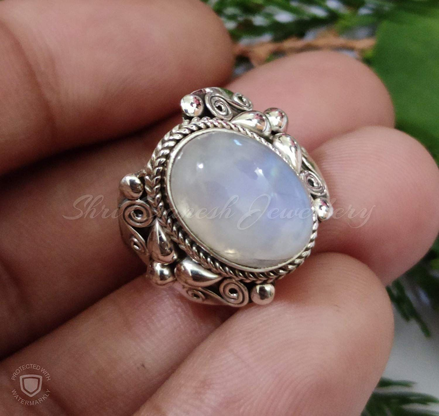 Natural Rainbow Moonstone Gemstone Ring Handcrafted Ring 925 Sterling Silver Ring Handmade Ring Jewelry Rainbow Moonstone Ring