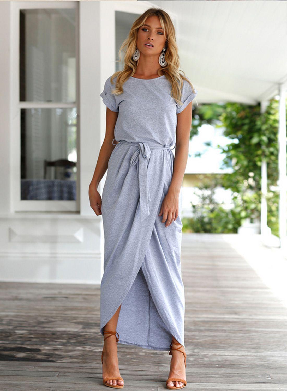 33ed3cbfb55 Short Sleeve High Slit Solid Maxi Dress with Belt