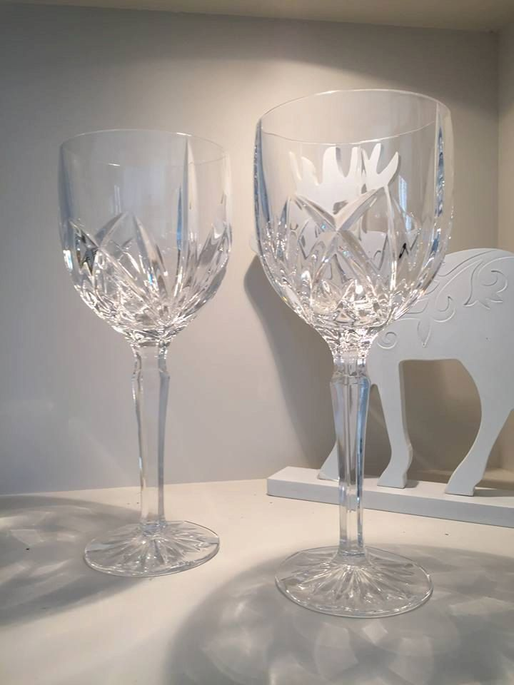 Two Waterford Crystal Gles Brookside Mint Wine Gl Vintage Sparkly