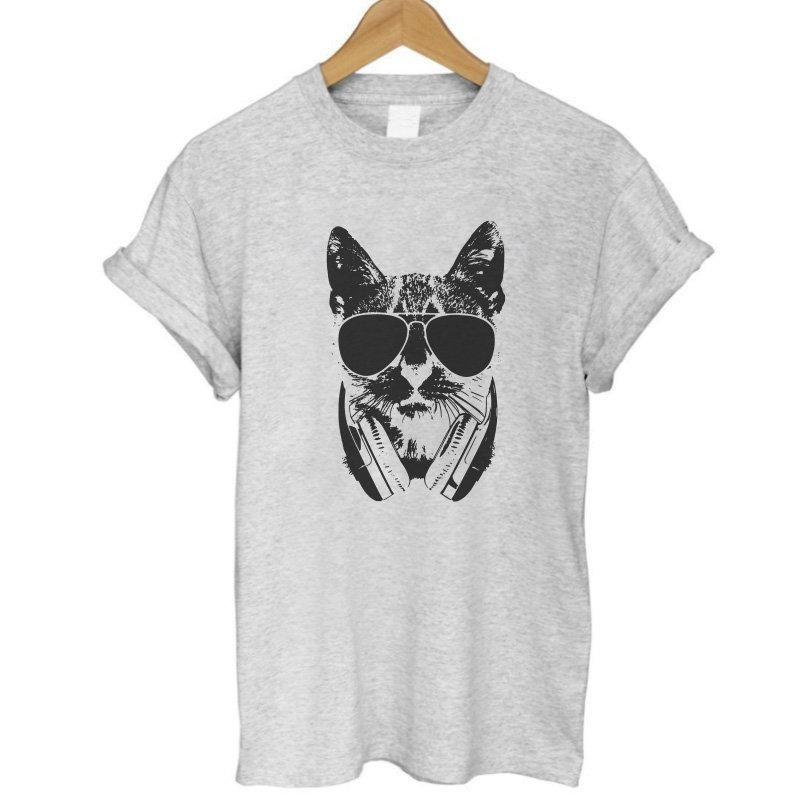 ee884520e COOLMIND CA0213B 100% cotton Women T shirt Short Sleeve funny Girls TShirt  casual Lovely Cat Print t-shirt tops tee shirts