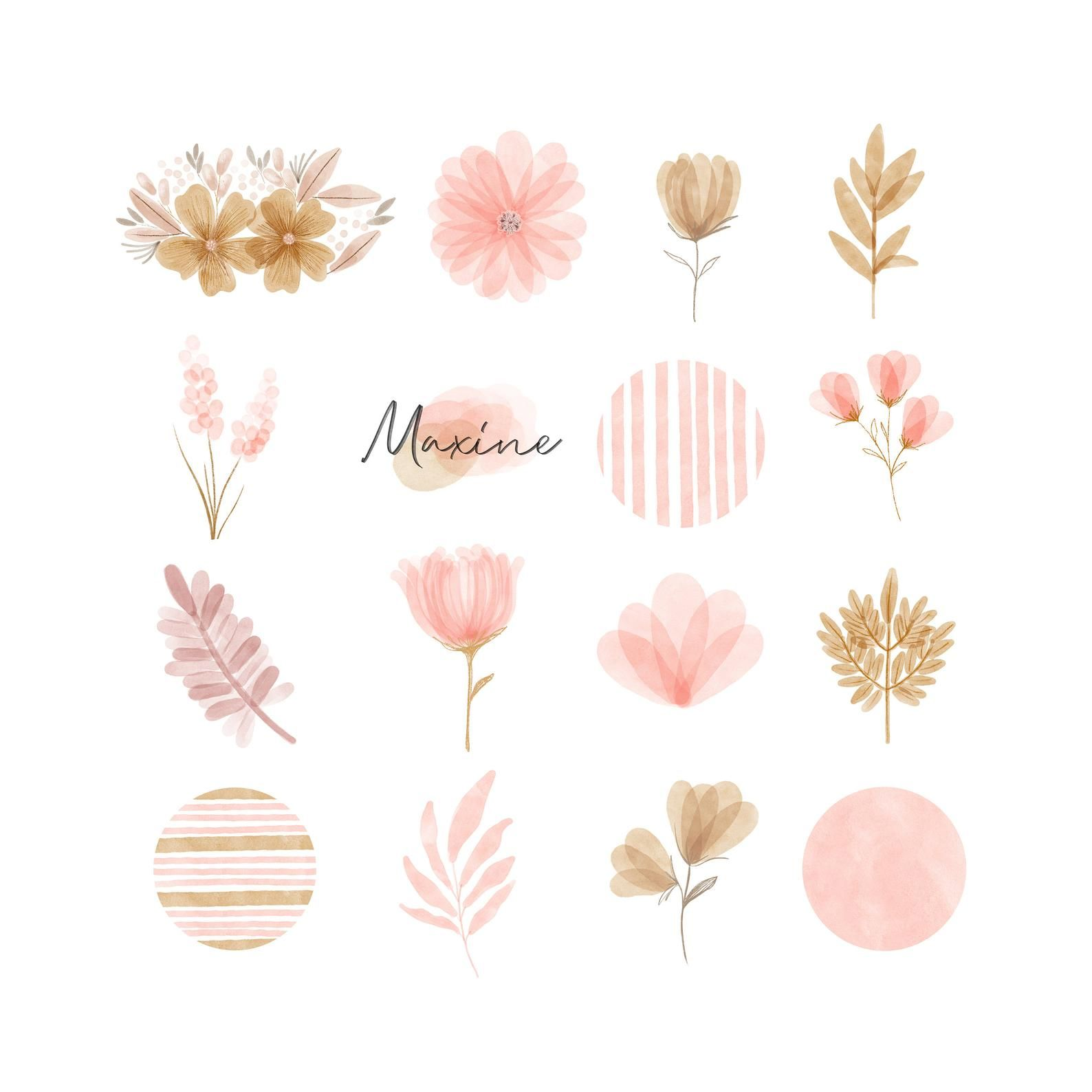 64 instagram story highlight icons bundle - iPhone iOS 14 app icons pack neutral - the watercolor hand painted boho feminine florals