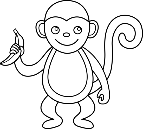 Pictures to draw black white. Monkey outline and something