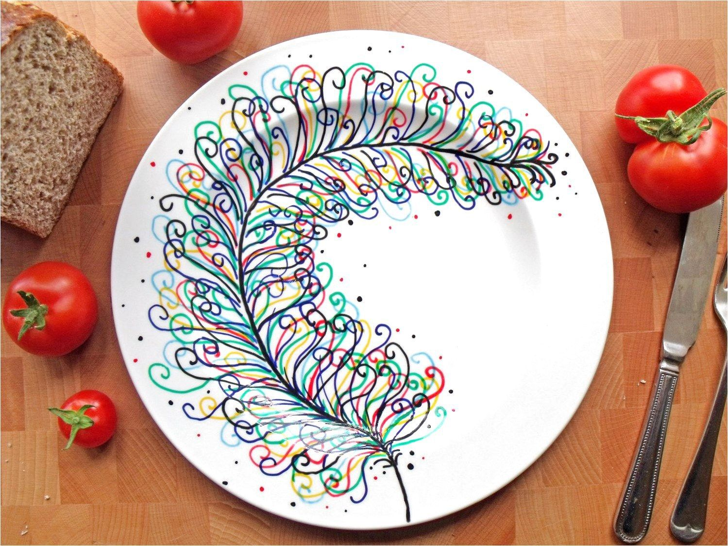 Hand Painted Porcelain Dinner Plate - Rainbow Feather - White Ceramic �3000, via Etsy #PotteryProjects If your a fan of this picture click for more. #tazasceramica