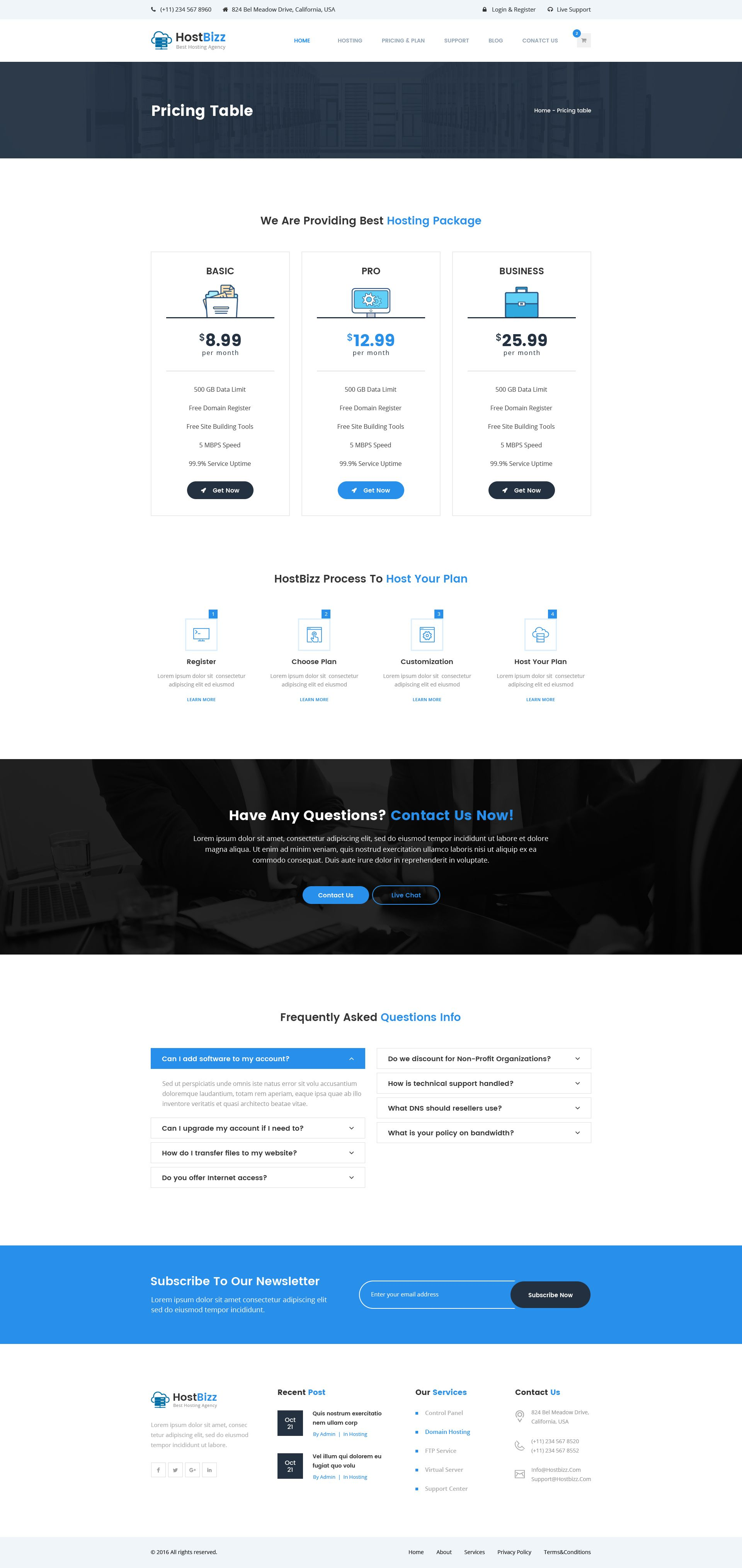 Hostbizz Hosting Psd Template Psd Templates Hosting Free Web