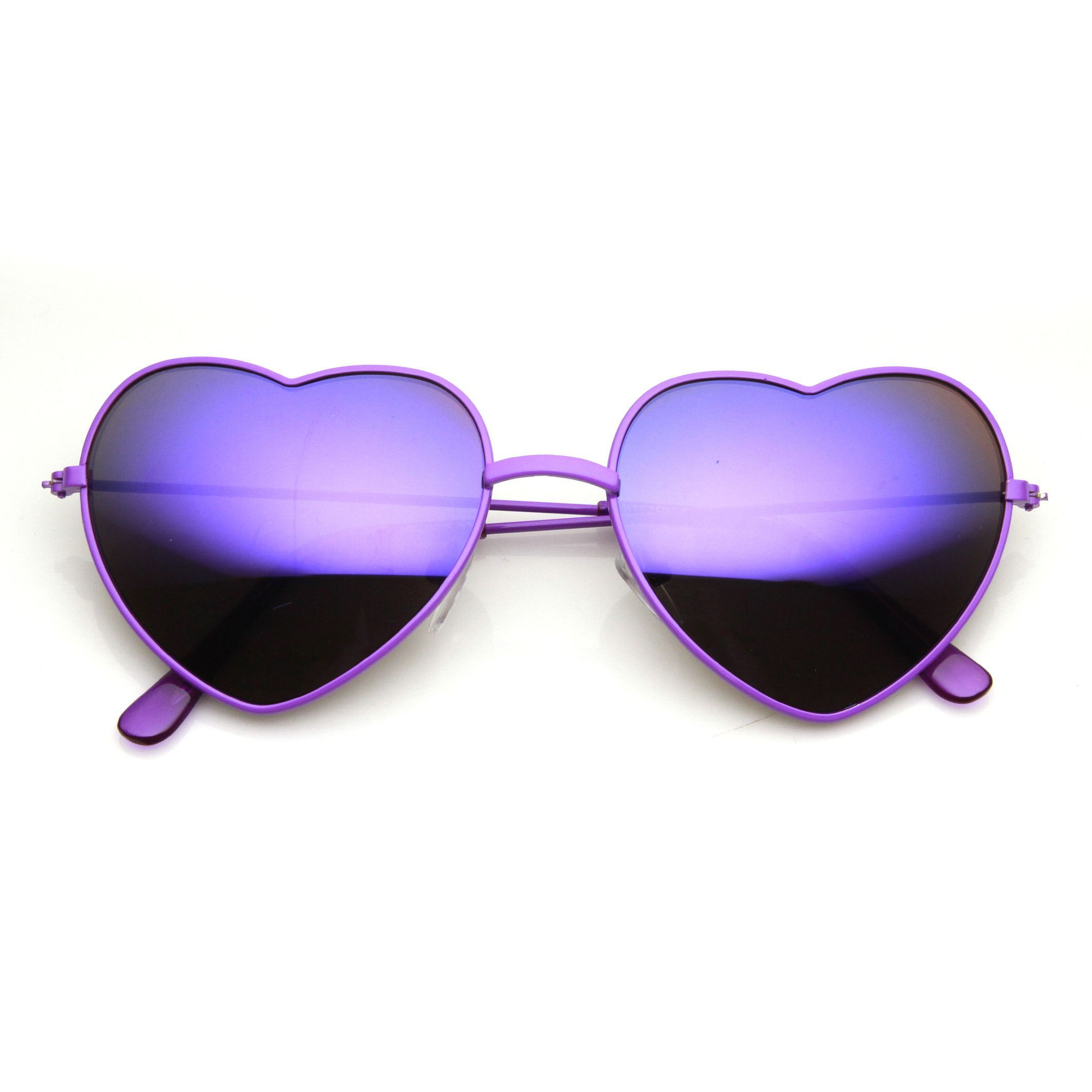 95a54831e42aa6 Women s Color Coated Heart Shaped Metal Frame Revo Mirror Lens Sunglasses  9563 Paarse Spiegel