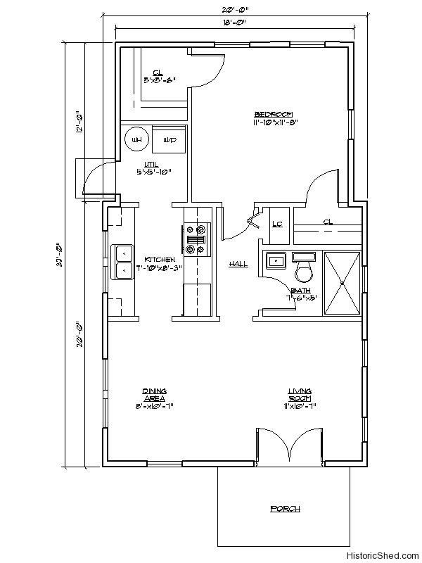 one bedroom one bath cottage with utility room sfturn kitchen counter clockwise for an open plan make diningoffice space and less closet to cut depth - Utility Bath House Plans