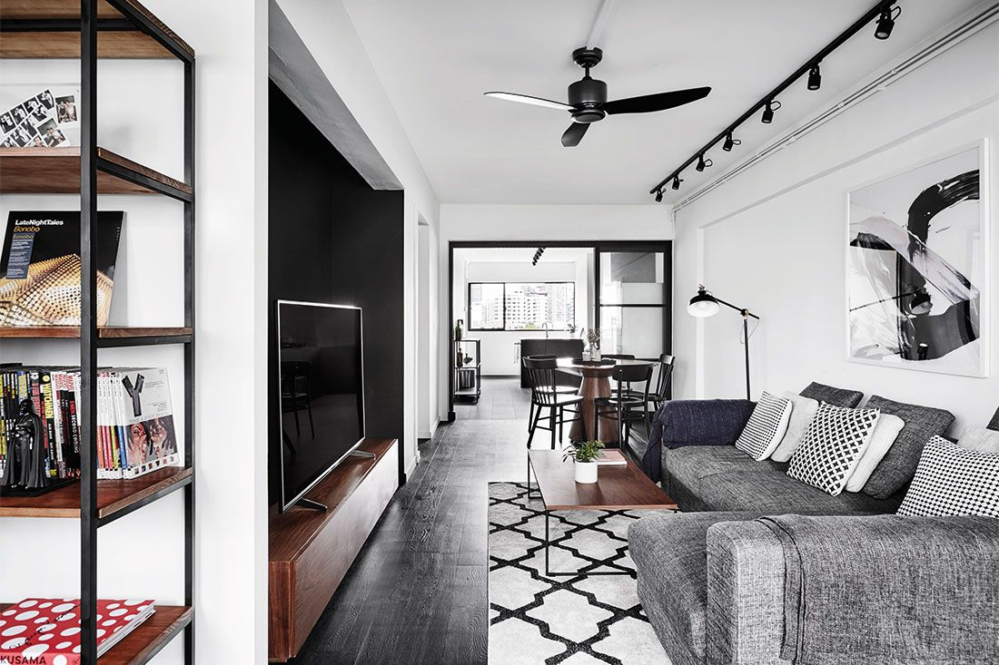 3 Room Flat a chic black-and-white 3-room resale flat | interior design