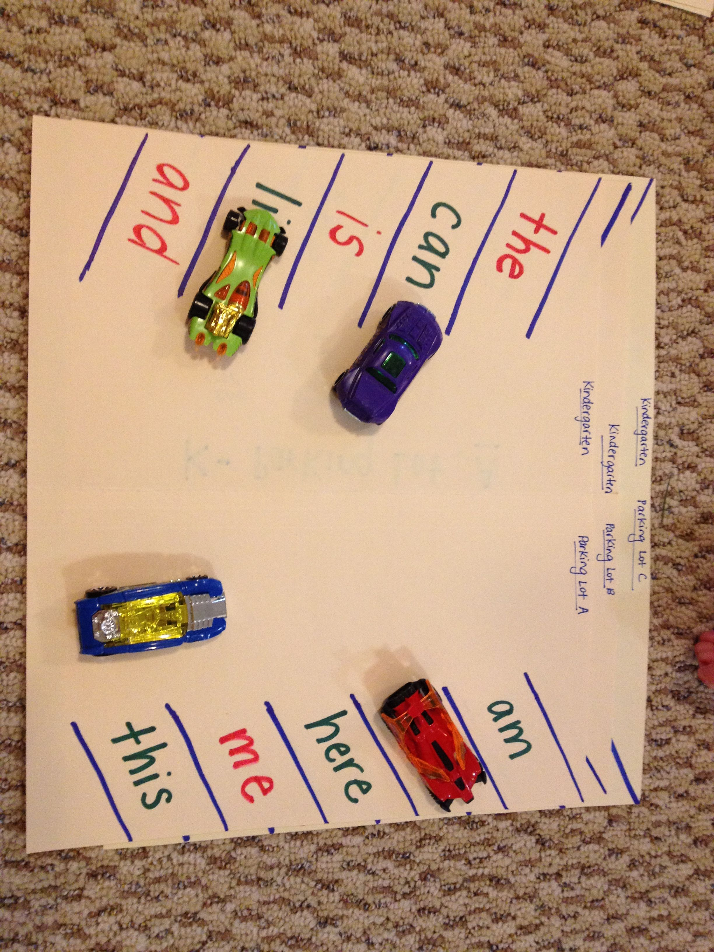 Sight Word Parking Lot Game Call Out A Word Amp Student