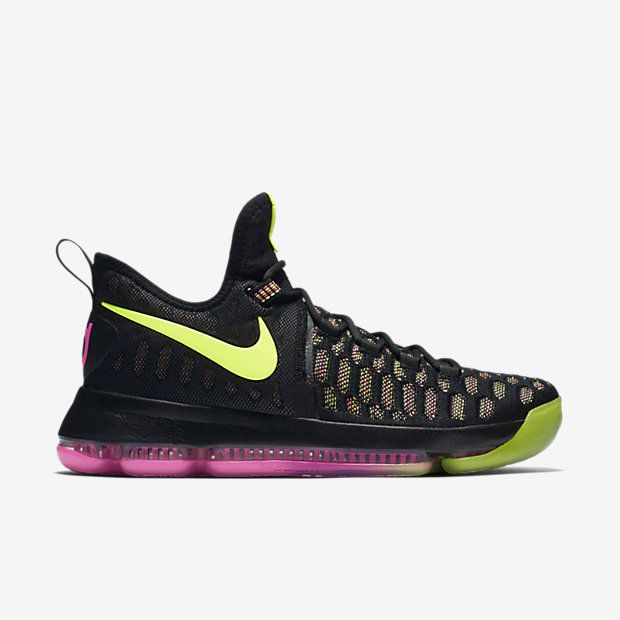 90f000e28ab2 Nike KD 9 Mens Basketball Shoes 10.5 Black Multi-Color Volt Pink 843392 999…