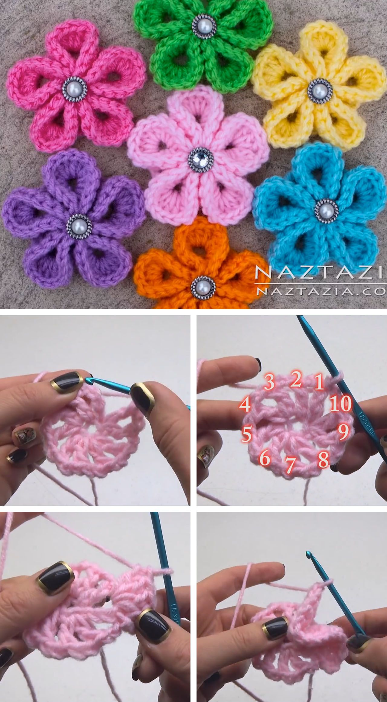 Crochet Kanzashi Flower Tutorial háčkován