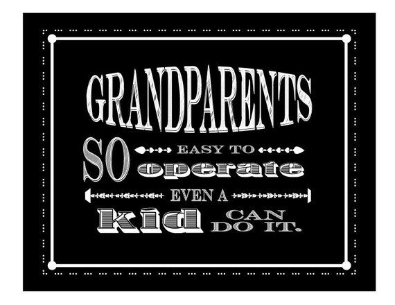 Grandparents Day Sign, Mother's Day Gift, Grandparents So Easy To Operate, Father's Day, Grandparent Day, Faux Chalk Sign, Black White Sign #grandparentsdaygifts