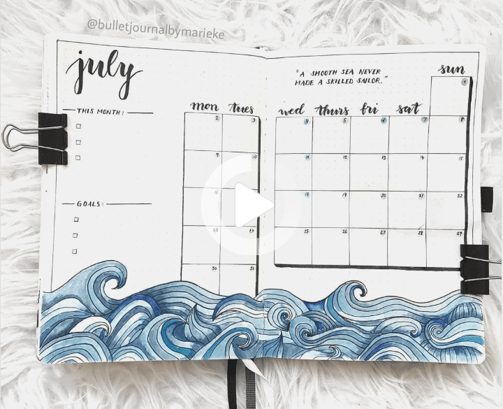 30 Under the Sea Themed Bullet Journal Layout Ideas | ElizabethJournal