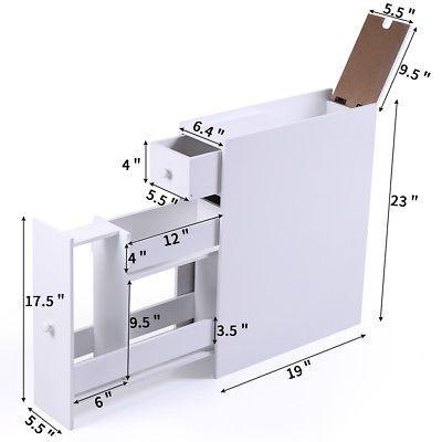 Bathroom Storage Cabinet Floor Standing, Bathroom Toilet Slim Floor Cabinet Narrow Storage Cupboard With Drawers