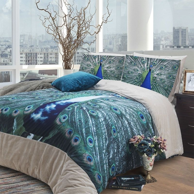 Peacock Themed Bedroom: Peacock Blue Green And Grey 3D Animal Peacock Print Exotic