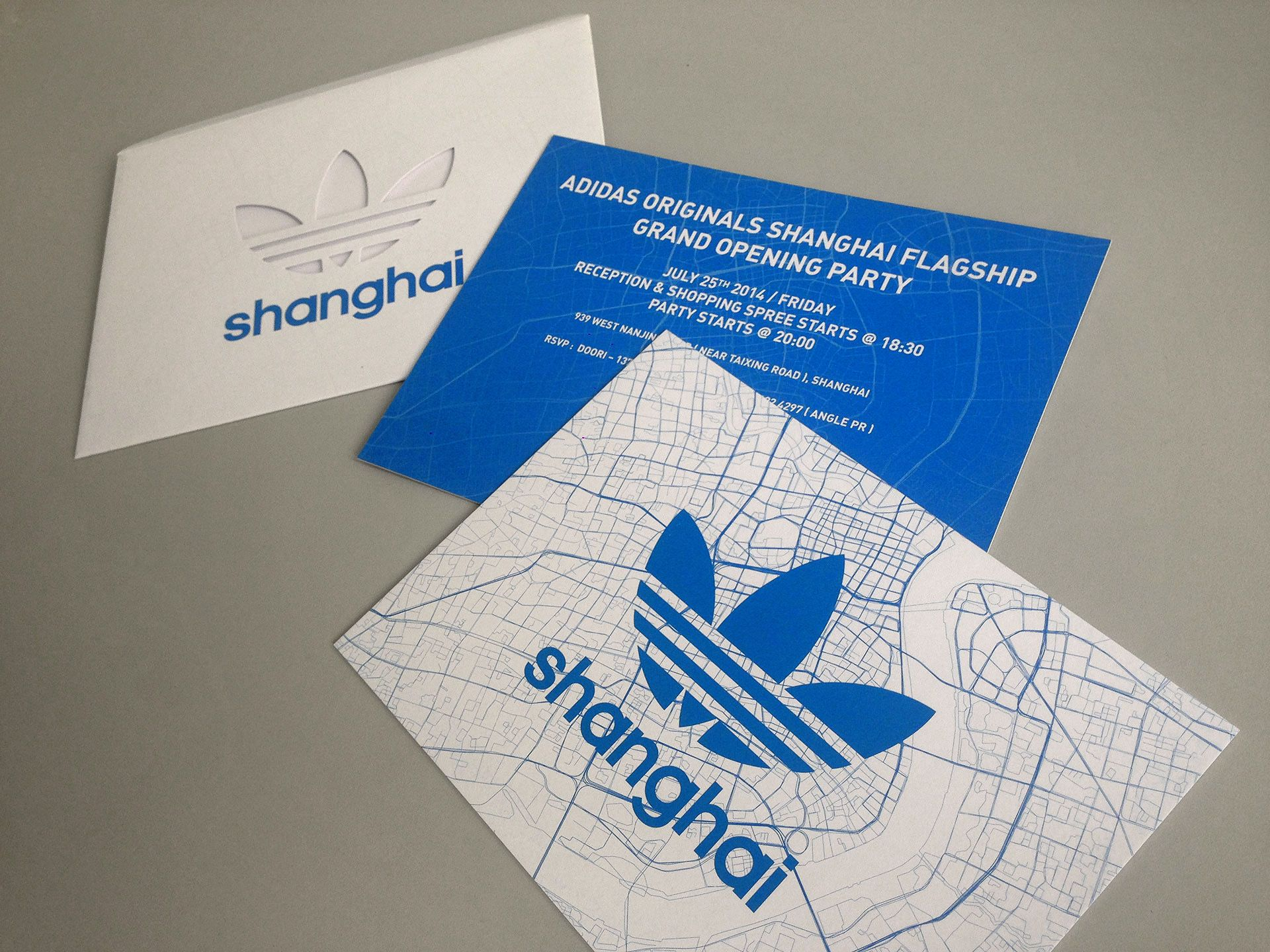 Promotion design items by Name&Name for Adidas Originals Shanghai Flagship Store - Launch party invite design.