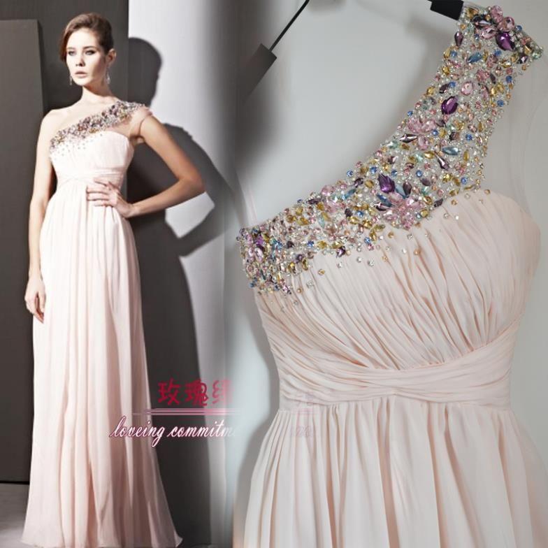 free shipping 2013 rhinestone crystal beaded bridal long evening gown formal dresses floor length banquet  Graduation Dresses