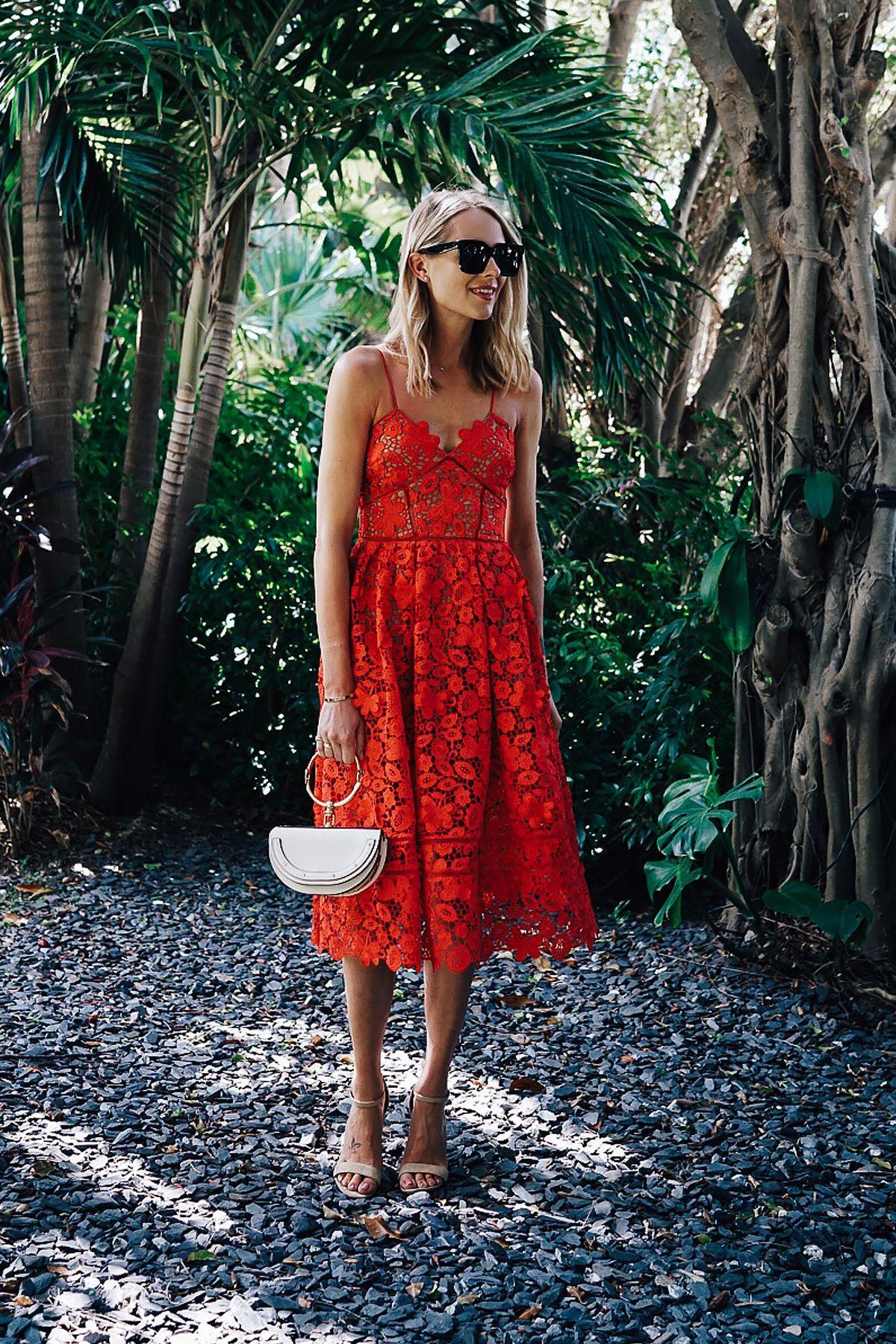 Blonde Woman Wearing Self Portrait Azaelea Red Lace Midi Dress Chloe White  Nile Handbag Fashion Jackson Dallas Blogger Fashion Blogger f515e4672