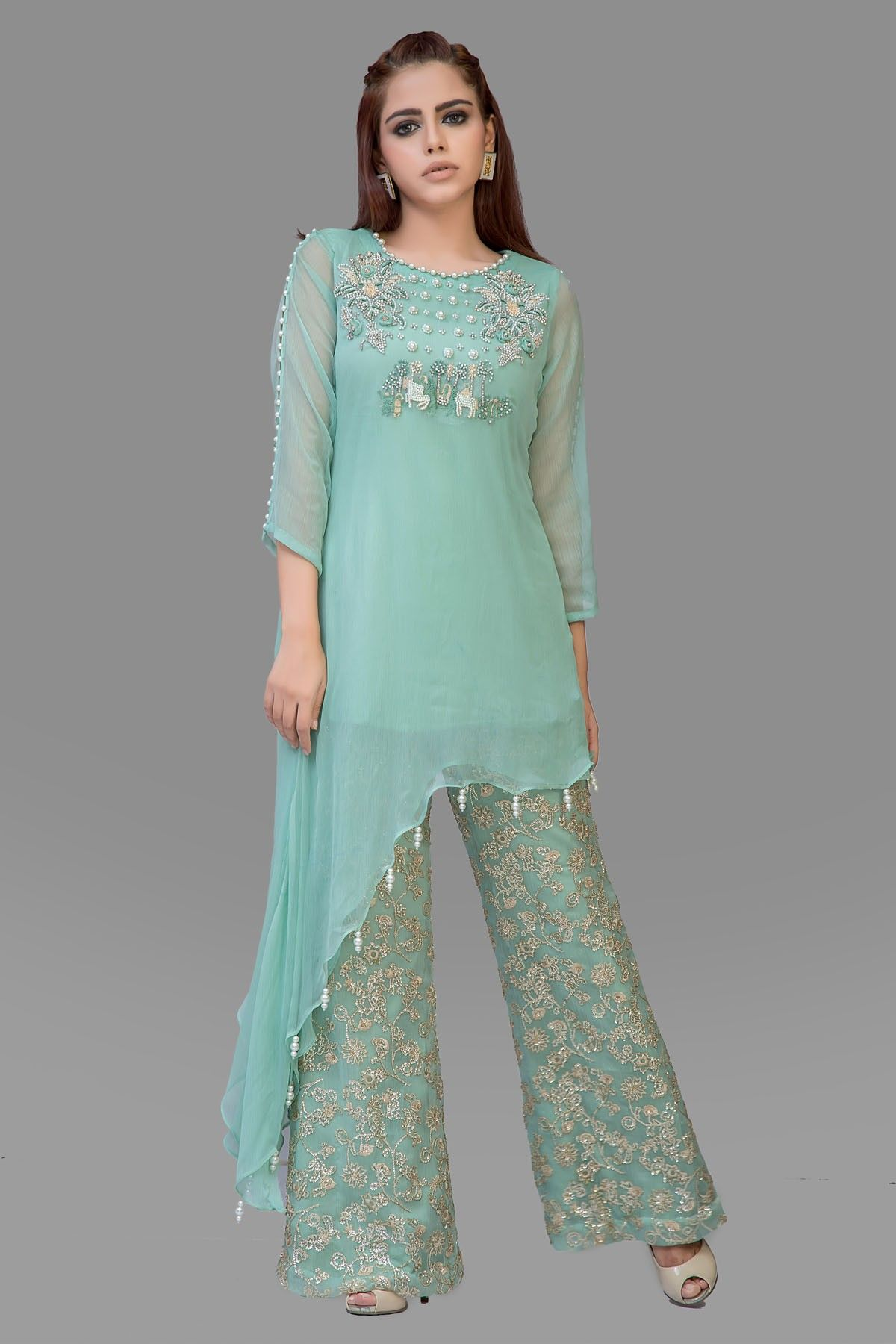 Nudrat Talha Green Embroidered Top with Pants | dress | Pinterest ...