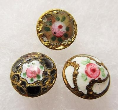Lot-of-Antique-Vtg-Victorian-French-Champleve-ENAMEL-BUTTONS-w-Rose-Flowers