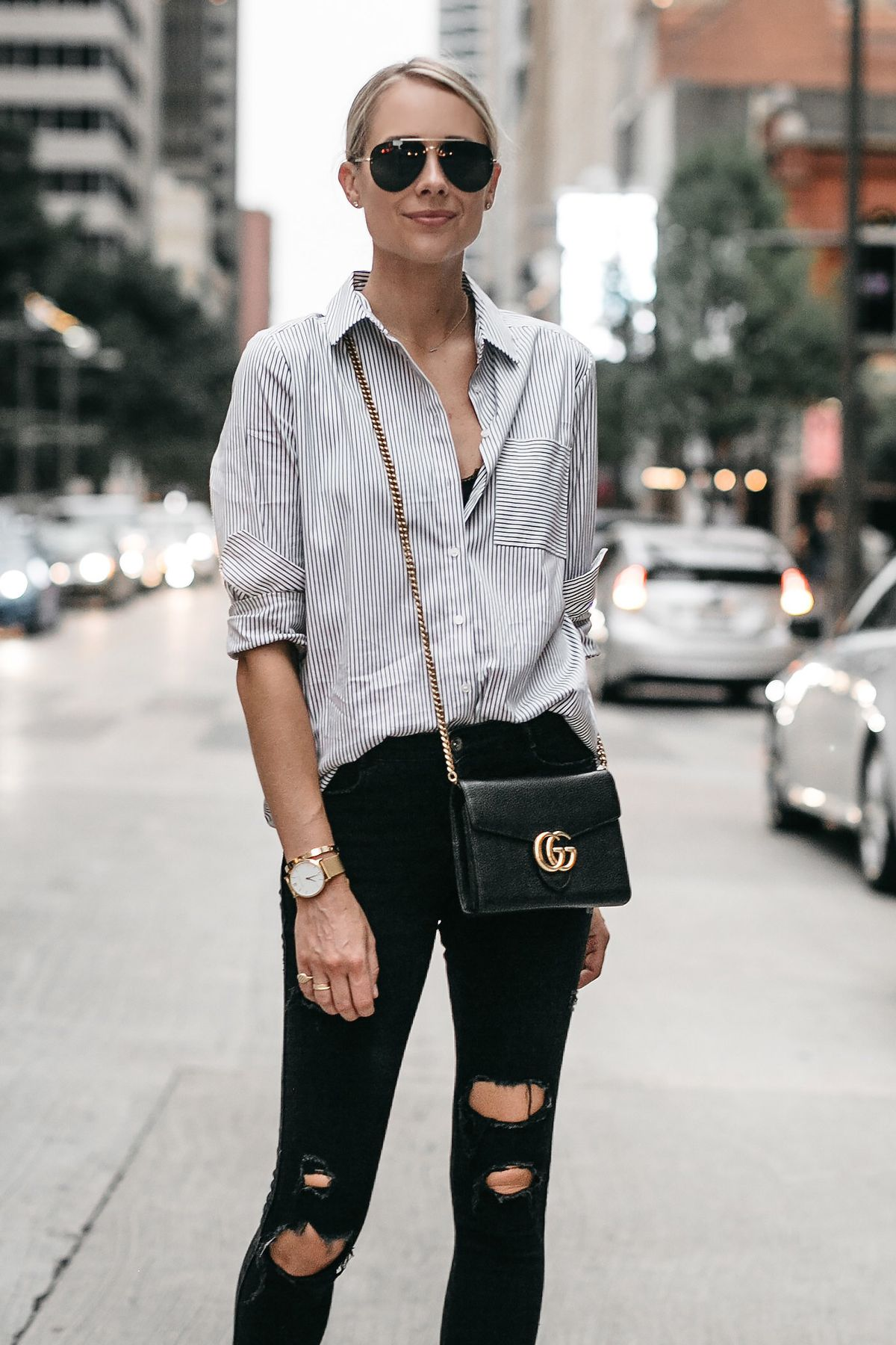 6197b530789 Blonde Woman Wearing Black White Striped Button Down Shirt Gucci Handbag  Black Ripped Skinny Jeans Fashion Jackson Dallas Blogger Fashion Blogger  Street ...
