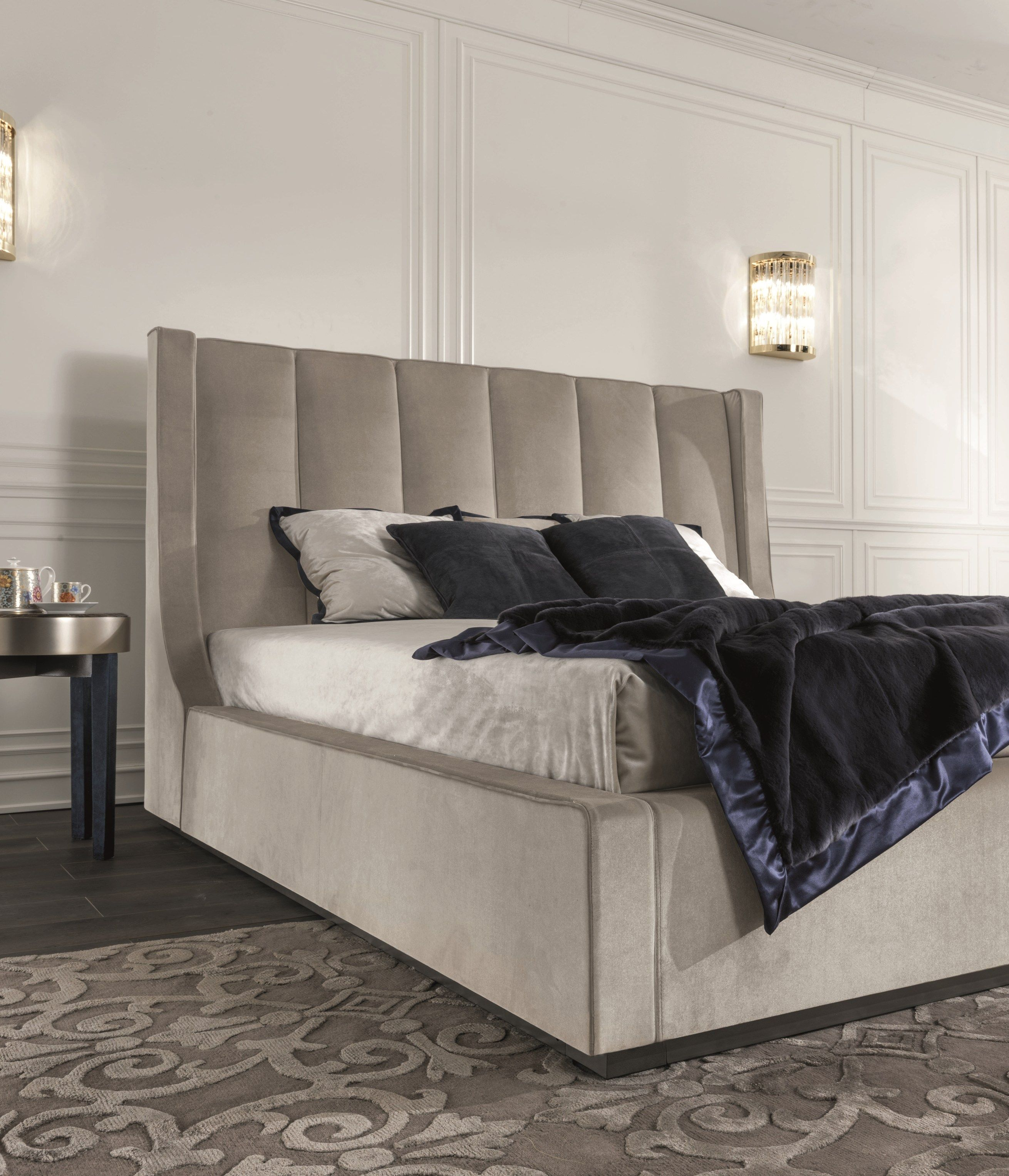 Storage bed with upholstered headboard KUBRICK by Longhi