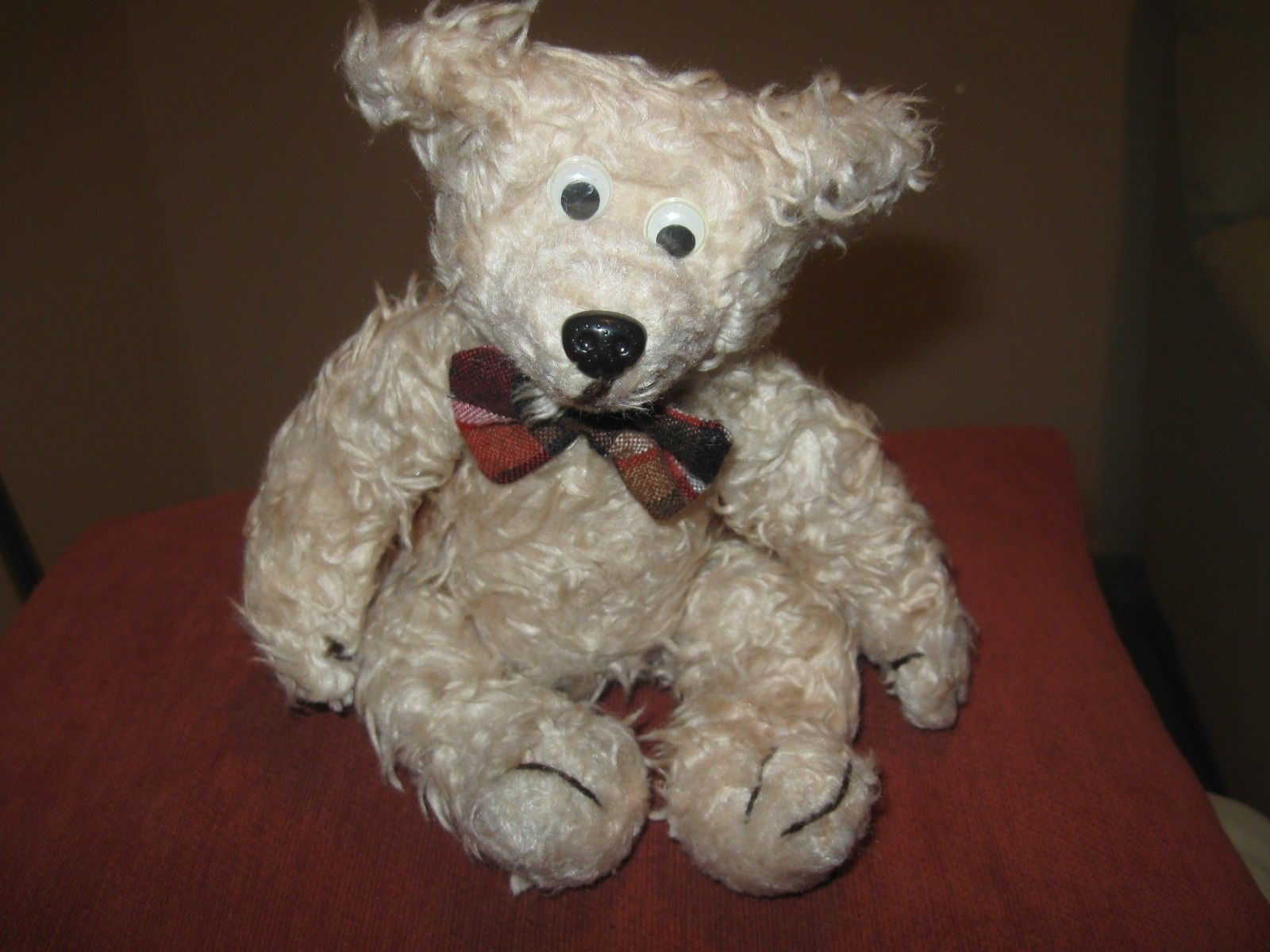 "Vintage 60's Stuffed Teddybear Teddy Bear Plush Doll Toy 12"" Figure Unmarked picclick.com"
