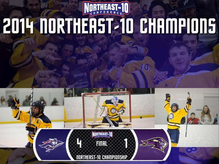 Snhu Penmen Ice Hockey Team Takes Home The 2014 Northeast 10 Championship Gopenmen Ice Hockey Teams Hockey Teams Ice Hockey