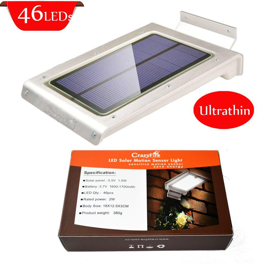 350 Lumens 46 pcs LED Solar Power Motion Sensor Lamp Ultra-thin PIR ...