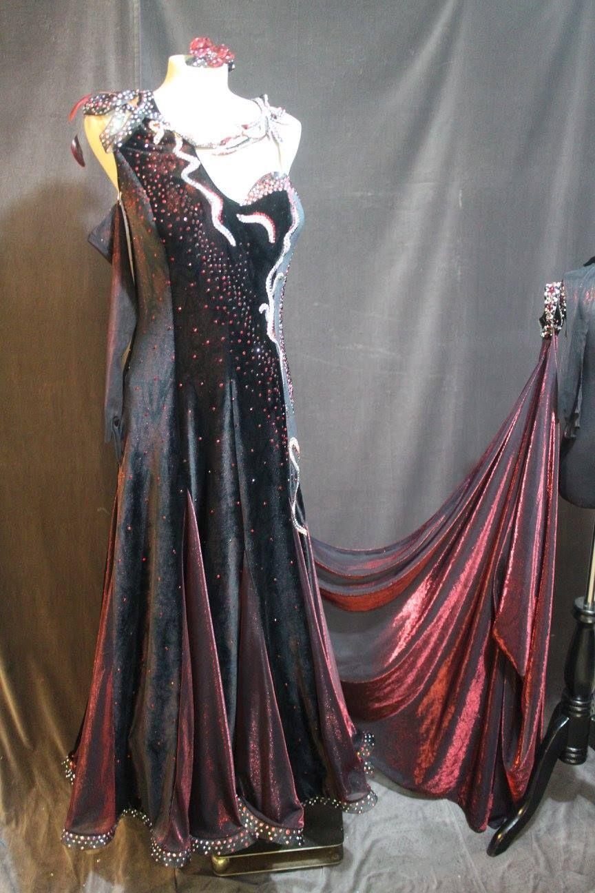 Gorgeous black and red metallic velvet dress for sale bodice