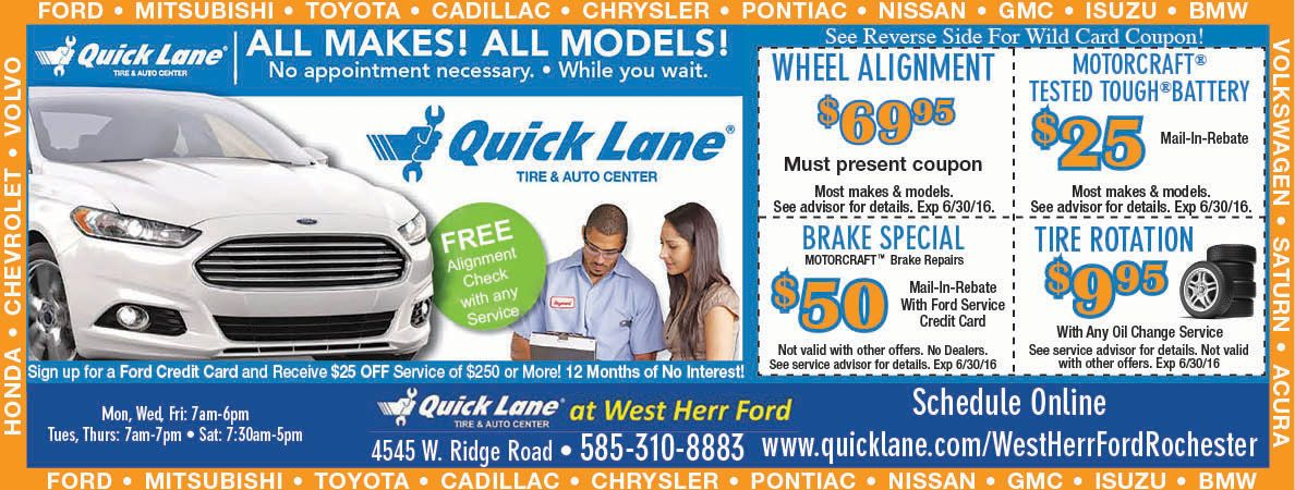West Herr Ford Quick Lane Wild Card Service Coupon And Big Tire