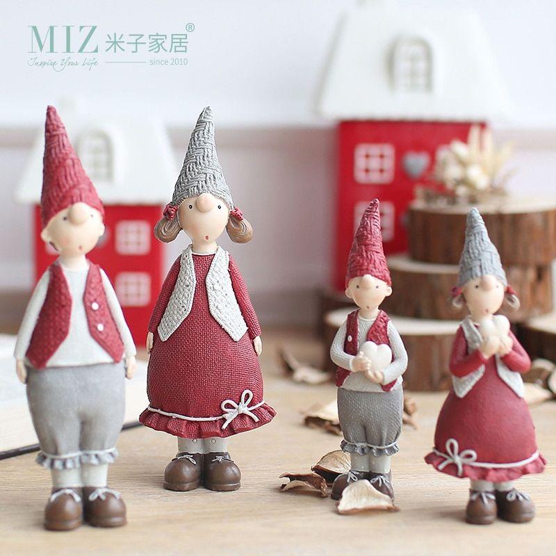 Pas cher Zim 1 Paire Rouge Résine Figurines Cadeaux De Noël pour