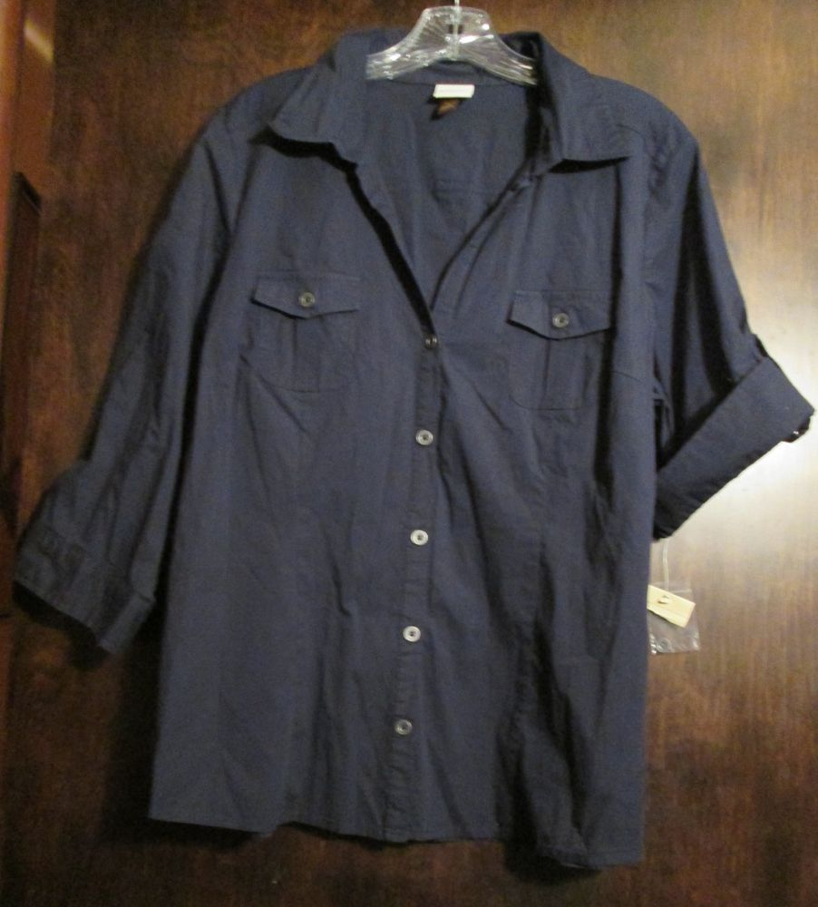 Womens Sonoma Extra Large Button Down Blouse New With Tags Navy Blue #Sonoma #ButtonDownShirt #CareerCausualvChurch