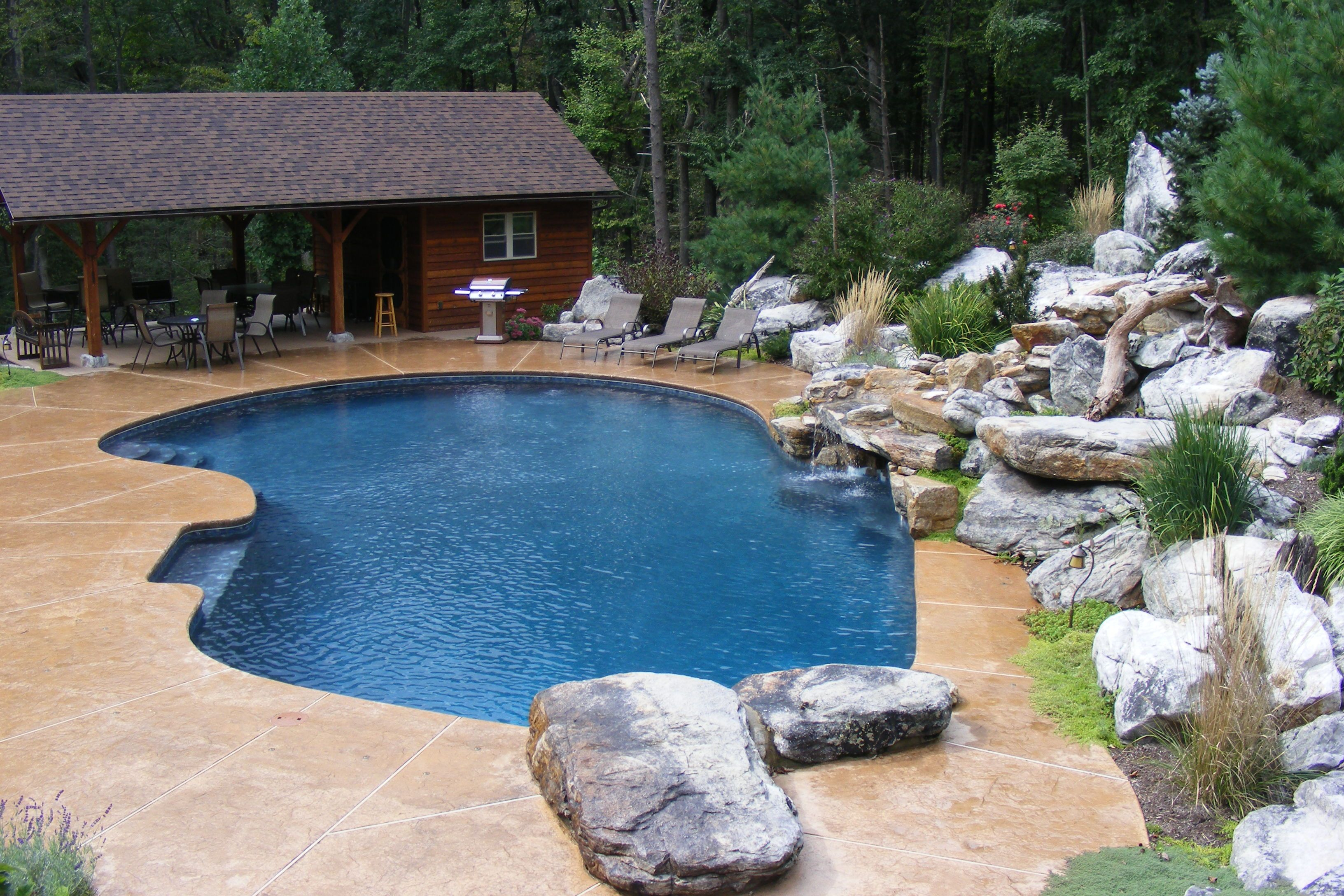 Free Form In Ground Concreteguniteplaster Pool Natural Boulder Waterfall Accent