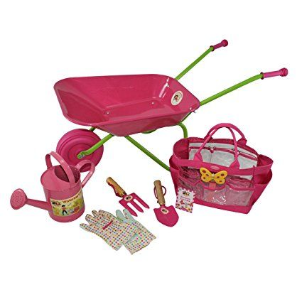 Little Pals Childrens Wheelbarrow And Gardening Tool Set, Pink, With Kids  Watering Can And