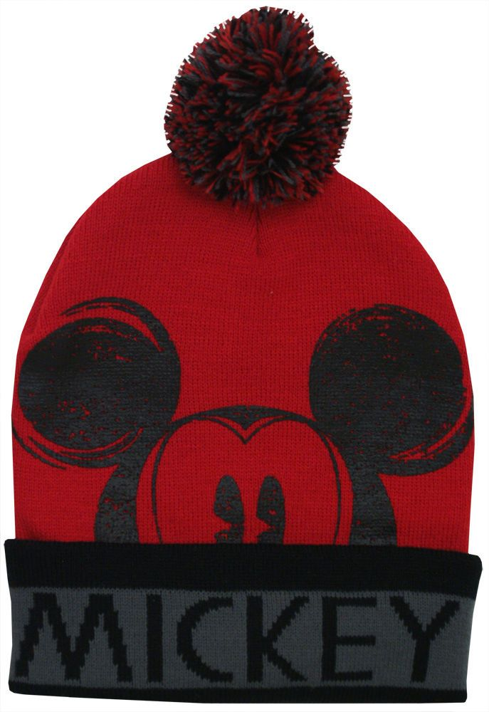 51046461e9d1 Mickey Mouse Disney Character Adult Winter Knit Cuffed with Pom Beanie Hat # Disney #FunFashion