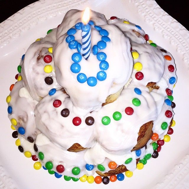 My sons 8th Birthday cake request A Cinnabon Cake with Pillsbury