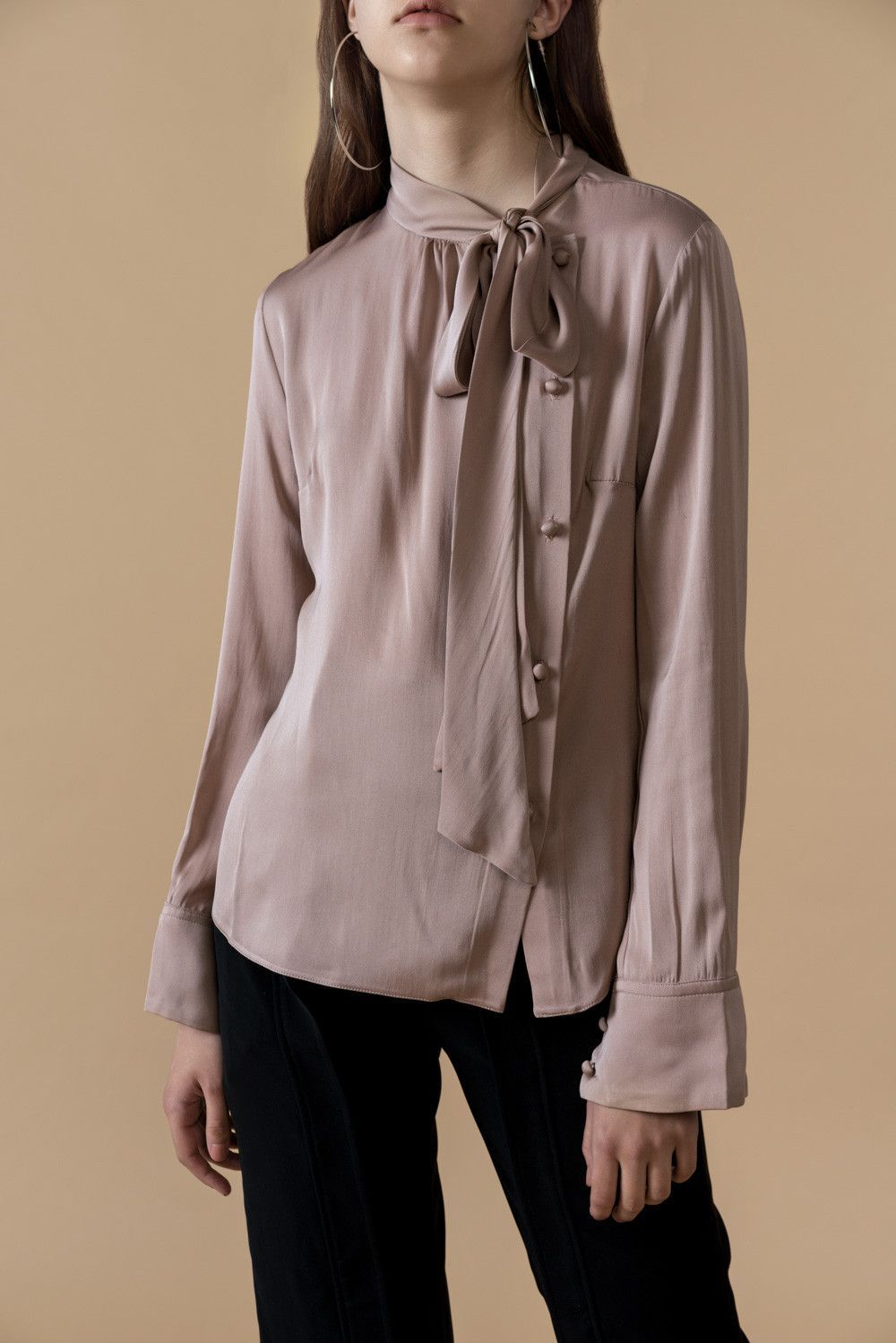 6435e1db94f92 Bowknot Silk Shirt