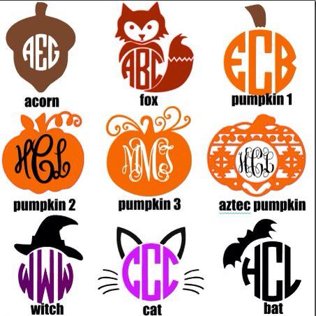 Fall Halloween Vinyl Silhouette Cameo Projects Vinyl Monogram