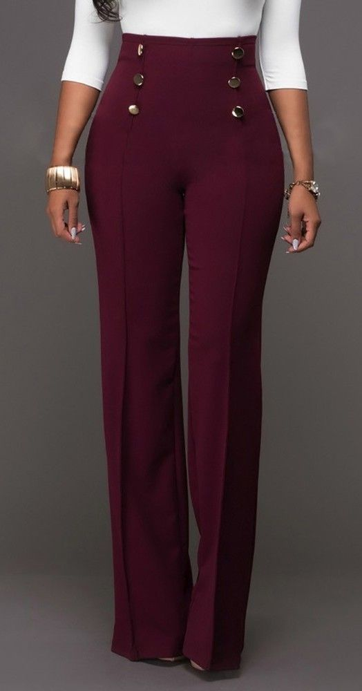 Button Design High Waist Long Casual Wide Leg Pants