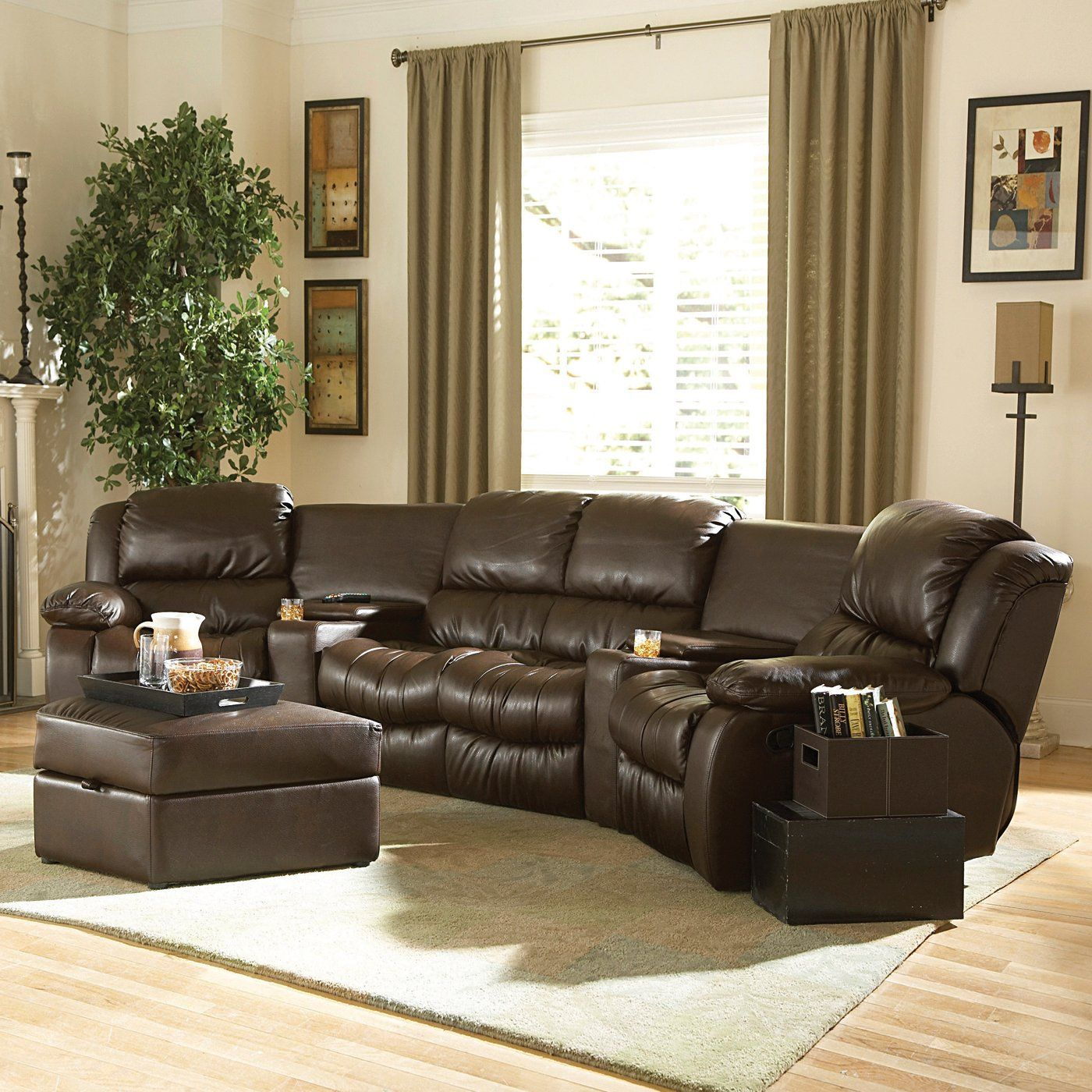 $2335 2 piece Everett Bonded Leather Sectional Sofa Set by