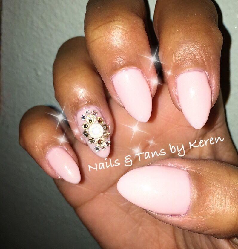 Pink nude gel nails and Swarovski crystals, Fall nails 2014 | Nail ...
