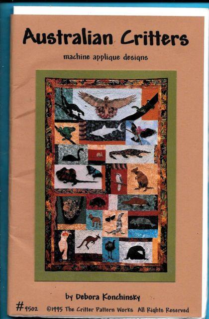 """Quilt Sewing Pattern, Birds, Kangaroo, Shark """"Australian Critters"""" 39""""x61"""", 1995"""