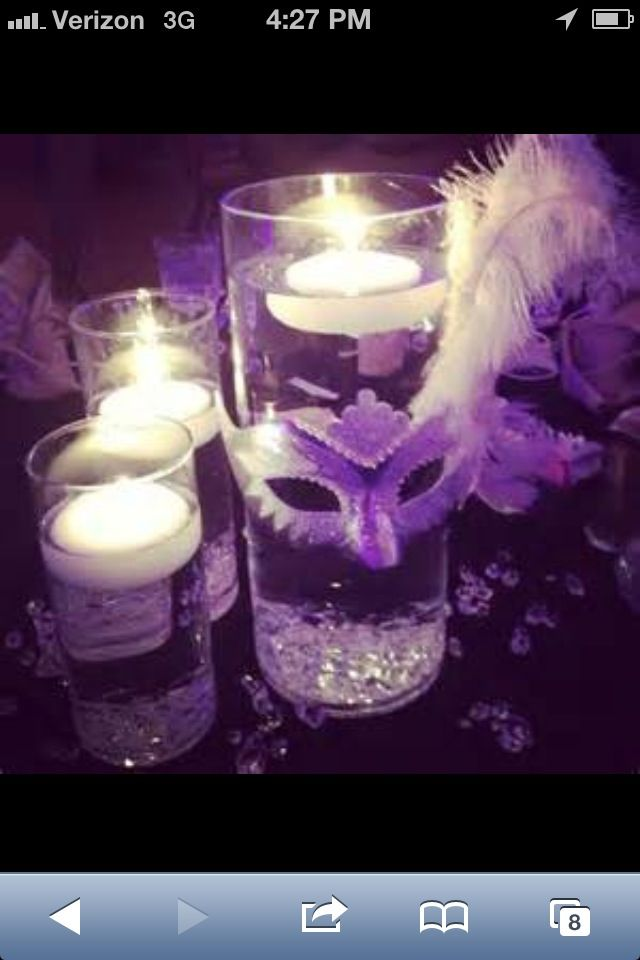 Christmas Masquerade Party Ideas Part - 40: Cheyenne Loves Floating Candles, So This Could Certainly Be Her Small  Centerpiece. Masquerade CenterpiecesMasquerade ThemeMasquerade Ball  DecorationsSweet ...